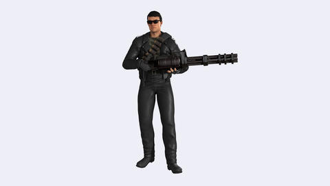 A Man Stands With A Gun Like A Guard, Loop,animation,transparent Background Animation