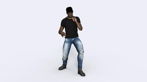 3D Model, The Man Is Rapping , Loop, Animation, Transparent Background Animation