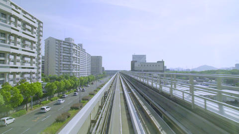 Point of view real-time ride through Kobe Japan on a onorail Image