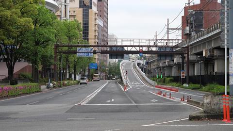 Exit of metropolitan expressway in Yokohama city Live Action