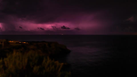 Lightning Storm over Ocean at Night GIF