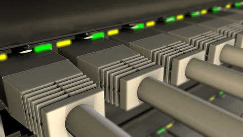 UTP cables plugged in to network switch loop Animation