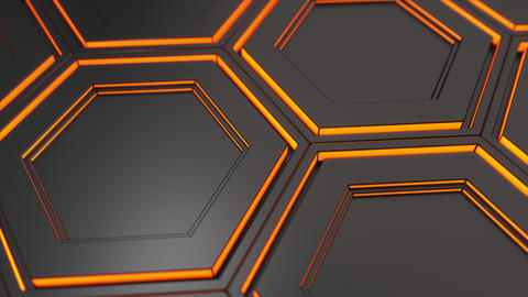 Wall of black hexagons with orange glow CG動画素材