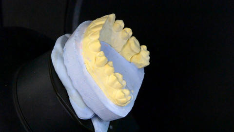 3D Scanning a model of human teeth close-up Footage