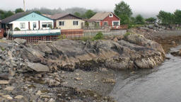 Houses on the coast of Sitka on background amazing landscapes in Alaska Footage