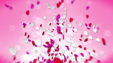 Hearts Flying on the Red Background, Red and White Candy, Valentine's Day Loop Animation