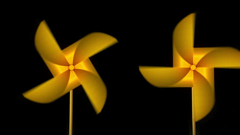 Golden Paper Pinwheel Toy, Windmill Loop Animation CG動画