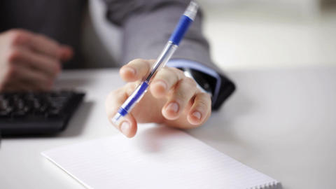 close up of businessman hands with notepad Footage