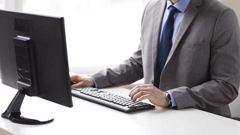 close up of businessman hands typing on keyboard Footage