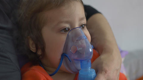 Child Doing Nebulizer Teraphy stock footage