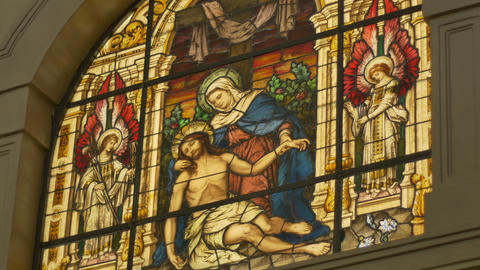 Stained Glass Depicting Jesus and Saint Mary Footage