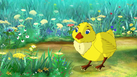 Yellow Chicken Bows CG動画素材