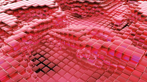 Animation of wave red glass liquid with animated reflections. Loopable animation Animation