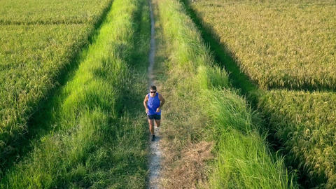 Aerial tracking on young sport runner man in off road running workout at a grass Footage