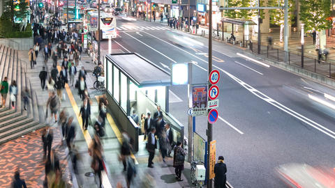 Time-lapse of people and traffic Tokyo WTC Footage
