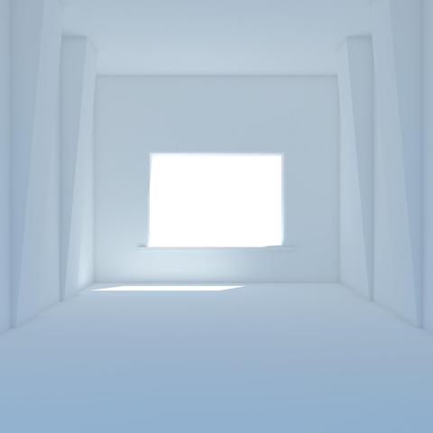 Blue room with big window 3D render フォト