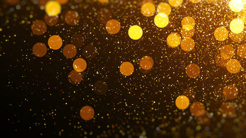 Gold magical blinking particles. Glitter glamour texture Animation