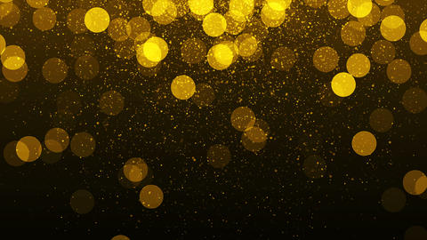 Golden lights background with particles. Gold sparks Animation
