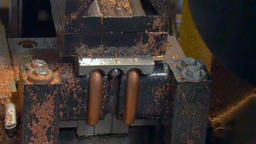 Bending and cutting of metal copper pipes tubes on industrial machine Footage
