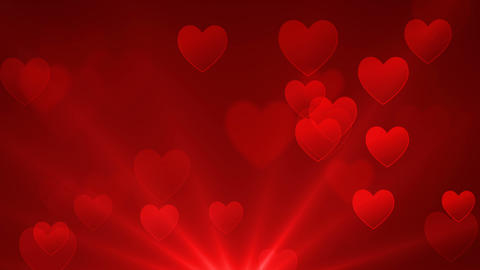 Romantic red hearts seamless loop abstract background Animation