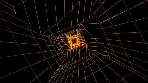 3D Gold Sci-Fi Digital Tunnel Loopable Motion Background V2 Animation