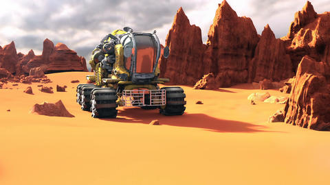Mars Rover on the Red Planet. A futuristic concept of a colonization of Mars Animación