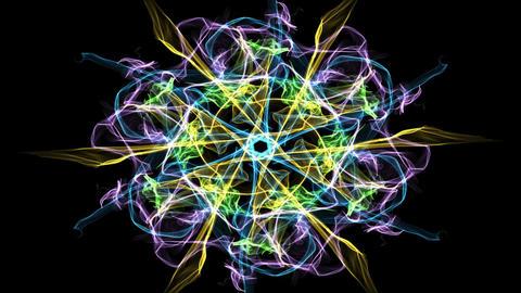 Live green fractal mandala, video tunnel on black background. Animated symmetric Animation