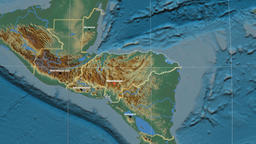 Zoom-in on Honduras outlined. Relief Animation