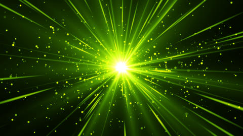 Green abstract loopable background with beams of light come from center. Magic Animación