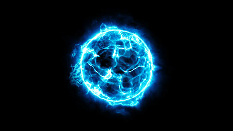 Abstract blue energy ball on black background. Energy appearance. Plasma effect Animation