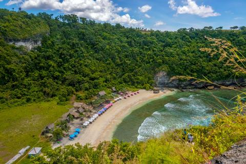 Tropical Beach on a Rocky Island Photo