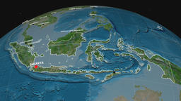 Zoom-in on Indonesia extruded. Satellite Animation