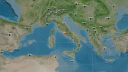 Zoom-in on Italy outlined. Satellite Animación
