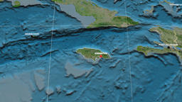Zoom-in on Jamaica extruded. Satellite Animation