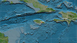 Zoom-in on Jamaica outlined. Satellite Animación