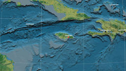 Zoom-in on Jamaica outlined. Topographic Animation