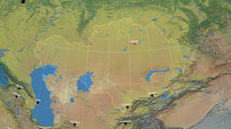 Zoom-in on Kazakhstan outlined. Topographic Animation