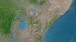 Zoom-in on Kenya outlined. Satellite Animation