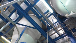 Manufacture of paint, paint mixing tanks GIF
