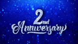 2nd Anniversary Wishes Blue Glitter Sparkling Dust Blinking Particles Looped Animation