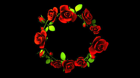 Red Roses Frame On Black Text Space, CG動画素材