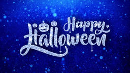 happy halloween Wishes Blue Glitter Sparkling Dust Blinking Particles Looped Animation