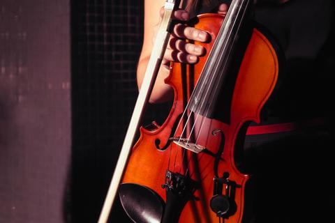 Violinist girl holding a violin フォト