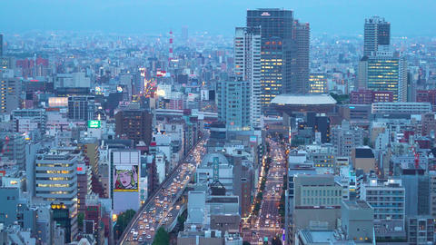 Big highway intersection in Osaka at twilight Footage