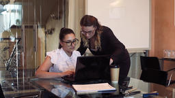 Two business women discussing a business project in an office using a computer Footage