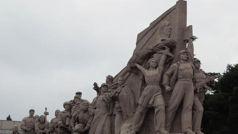 Chinese Monument Near The Mausoleum Of Mao Zedong Beijing China Footage