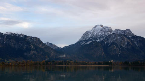 Forggensee lake in Bavarian Alps Stock Video Footage