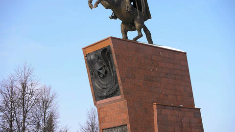 Monument for Russian Hero Chapaev Stock Video Footage