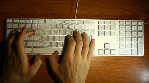 Keyboard Men Hands stock footage