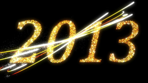 2013: Fireworks And Sparkling Symbols Of New Year stock footage